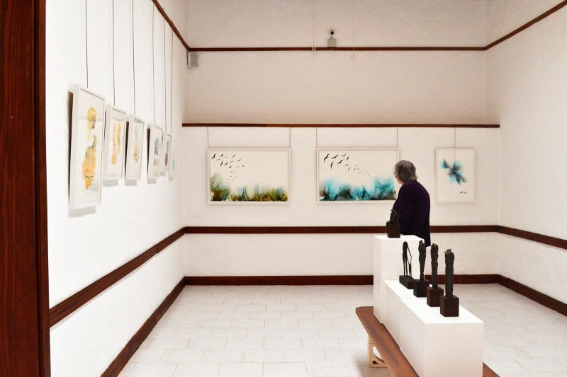 Inside an art gallery