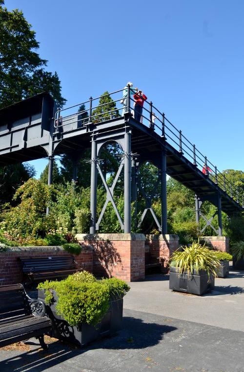 Iron footbridge over a railway