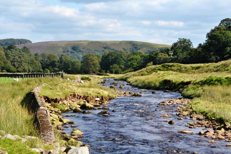 A river running through open countryside