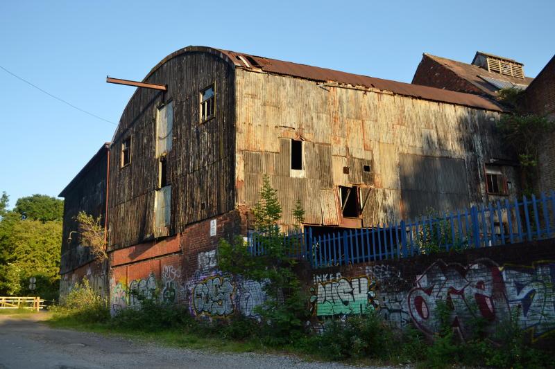A derelict factory building