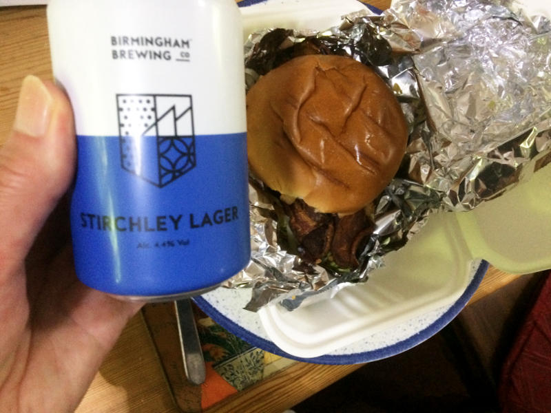A can of Stirchley Lager and a beefburger