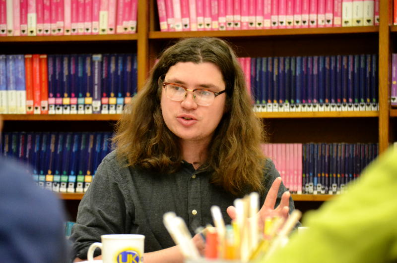 Birmingham Poet Laureate Richard O'Brien on a visit to Stirchley Library